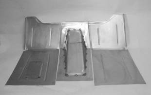 "Steel Firewalls and Floors - 1928-1936 Chevy Car Complete Floor Kit For Use With Firewall With 2"" Set Back - Image 1"