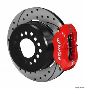 "Brakes and Brake Kits - Red Calipers and 12"" Drilled Rotors with Parking Brake"