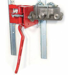 "Brakes and Brake Kits - 90° Under Dash Brake Pedal Assembly With 1"" Bore Cast Iron M/C and Remote Fill Lid"