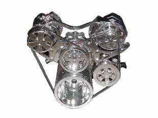 Engine Components - SBC  V-Belt TurboTrac Drive with P/S-Polished