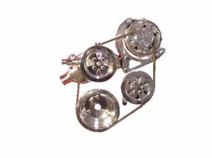 Engine Components - BBC V-Belt TurboTrac Alternator and P/S Fully Polished - Image 1