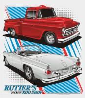 Rutter's Rod Shop T-Shirt  '57 Chevy Pickup and '56 T-Bird