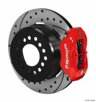 "Wilwood Disc Brakes - Rear Big Ford 9 Inch Disc Brakes - Brakes and Brake Kits - Red Calipers and 12"" Drilled Rotors with Parking Brake"