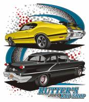 Rutter's Rod Shop T-Shirt  '73 Olds 442 and '56 Black Olds