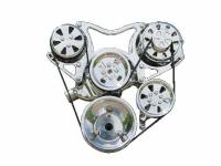VIPS Engine Pulley Systems - Small Block Chevy - Engine Components - SBC Serpentine TurboTrac Drive with P/S Fully Polished