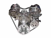 VIPS Engine Pulley Systems - Small Block Chevy - Engine Components - SBC  V-Belt TurboTrac Drive with P/S-Polished